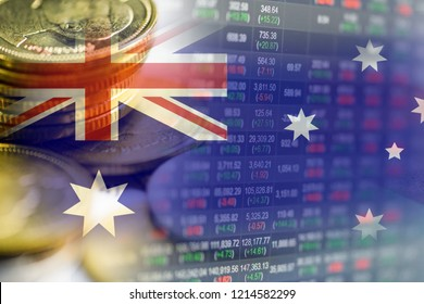 Stock market investment trading financial, coin and Australia flag or Forex for analyze profit finance business trend data background.