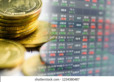 Stock market investment trading financial, coin or Forex for analyze profit finance business trend data background.