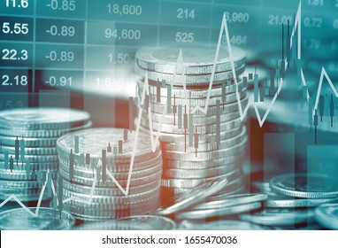 Stock market investment trading financial, coin and graph chart or Forex for analyze profit finance business trend data background.
