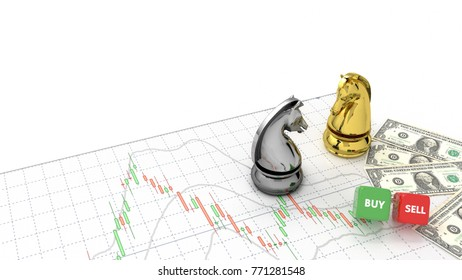 stock market investor chess horse golden and silver and money on top candlestick graph gold stock exchange graph and financial money background investment chart indicator copy space minimal concept