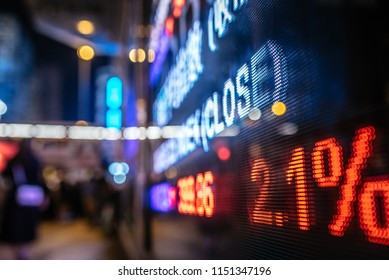 stock market numbers and city light reflection