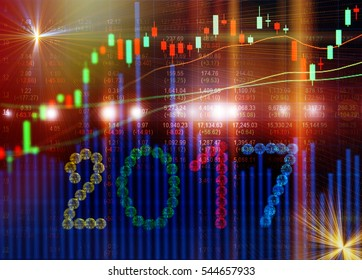 Stock market on display in 2017,Business crisis concept.Used for background.