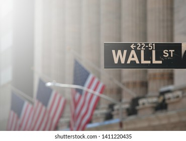 Stock market photo with waving America flag