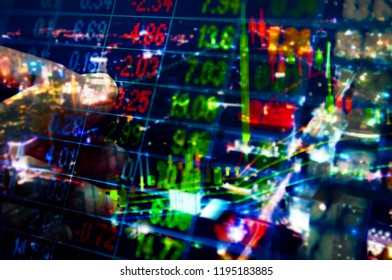 Stock market quotes which represent the investment in the real stock exchange. Forex trading in the digital monitor screen.
