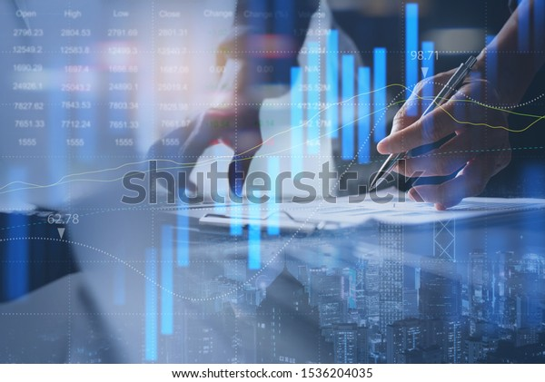 Stock market report, business finance technology and investment concept. Abstract finance background, businessman analysing forex trading graph, financial data, market summary, city double exposure