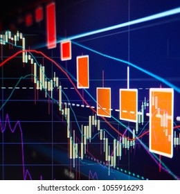 Stock market selloff  -  Stock graphs and charts - Financial and business background