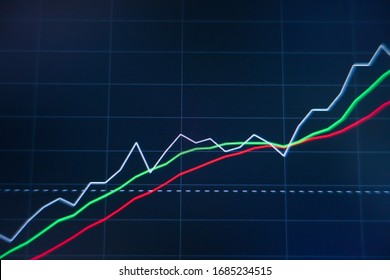 Stock market trading graph and candlestick chart on screen monitor background. Financial investment and economic concept.