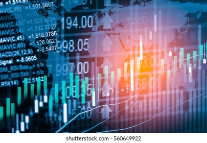 Stock market trading graph and candlestick chart for business concept about financial investment.