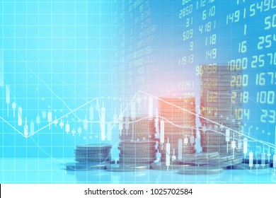stock market or trading graph and coin on spreadsheet excel research financial accounting summary analysis report,Double exposure business financial business data   report and stock market concept