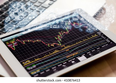 stock market watching with digital tablet