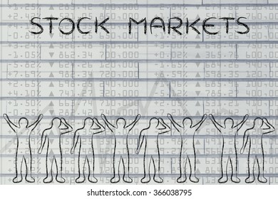stock markets: group of traders with mixed feelings, happy or sad