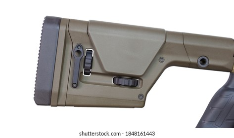 Stock on a precision rifle that is adjustable for individual shooters isolated on white
