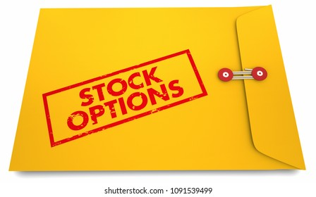 Stock Options Yellow Stamped Envelope Words 3d Render Illustration