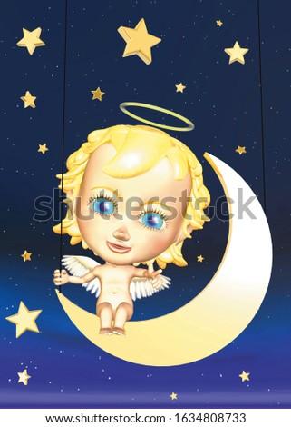 ангелочек, сидящий на полумесяце среди звездного неба Сток-фото ©