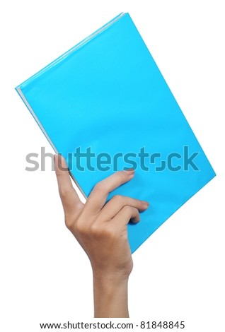 a blue book in hand isolated on white background