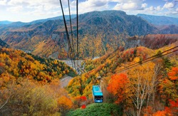A breathtaking aerial view from a cable car of Kurodake Ropeway flying over colorful autumn forests on the mountainside in Sounkyo Gorge in Daisetsuzan National Park, in Kamikawa, Hokkaido, Japan
