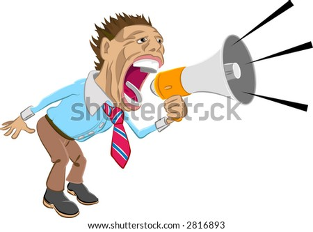 A business man shouting into a megaphone. Raster version