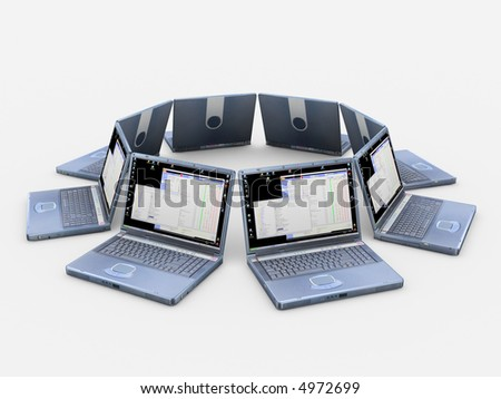 A circle from notebooks - stock photo