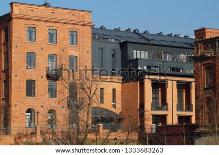 A combination of tradition and modernity. Residential and hotel complex -  Loft Aparts - details of architecture of the city of Lodz, Poland