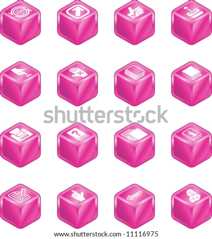 A cube icon series set for computer applications.