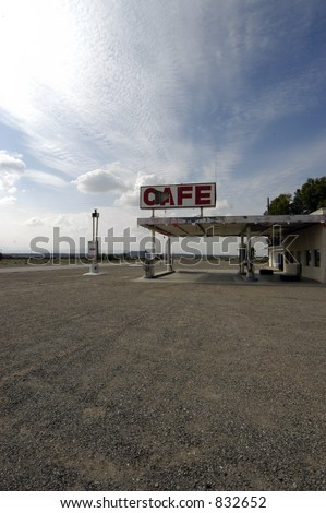 A dead cafe and and gas station in the middle of nowhere