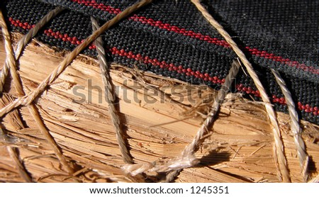 a detail image of a tatami during fabrication - stock photo