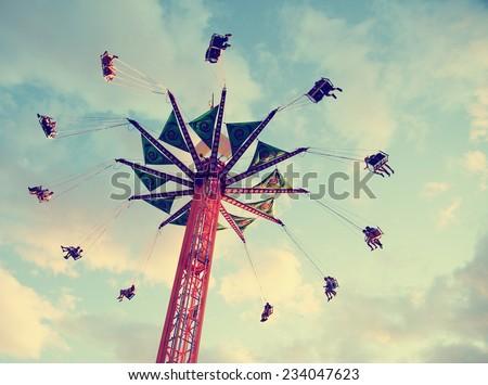 a fair ride shot with a long...