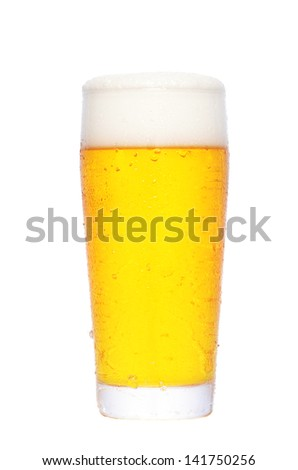 A glass of beer isolated on a white background