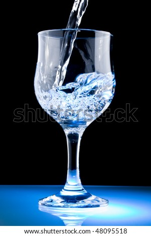 A Glass of clean water on black background