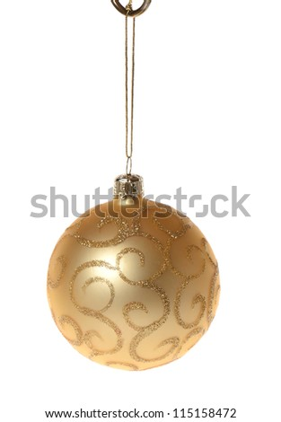 A gold christmas decoration isolated on white