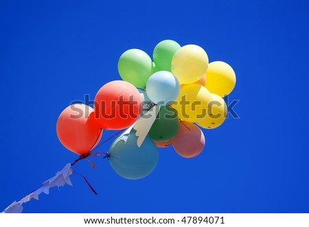 A group of colorful balloons in the blue sky