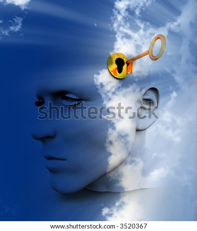a key unlocking a mans mind, good for images representing imagination,inspiration and intellect.