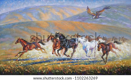 A large eagle over the running herd of horses. An oil painting on canvas. Author: Nikolay Sivenkov.