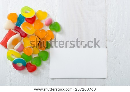 A lot of candies with  blank  card