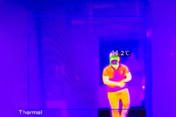A man body temperature measured through a remote thermal infrared imager