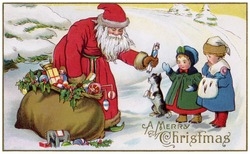 'A Merry Christmas' - Saint Nicholas giving out toys to little children - a circa 1914 vintage greeting card illustration.