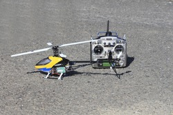 a model helicopter and remote control