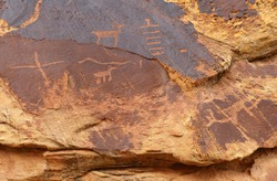 a panel of ancient native american petroglyphs in three fingers canyon in the san rafael swell near green river, utah