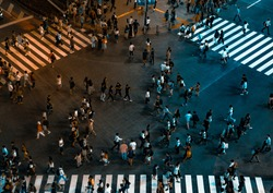 A photo taken from the sky of people passing by in the city of Shibuya at night