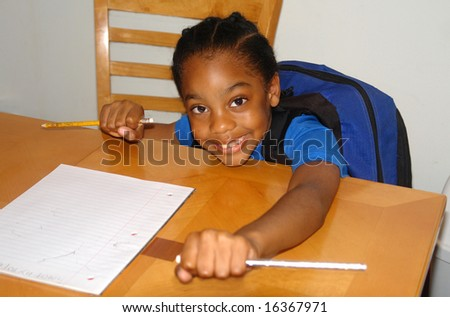 A picture of a child getting ready for homework