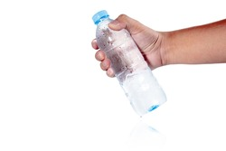 A picture of a hand holding a bottle of fresh cool water is sending it to your loved one.  On a white backdrop, the concept idea is to look at a healthy body. Have clipping path