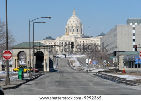 A picture of a street leading to state capital in St. Paul Minnesota