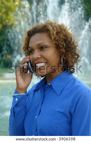 A picture of a woman communicating on cellphone