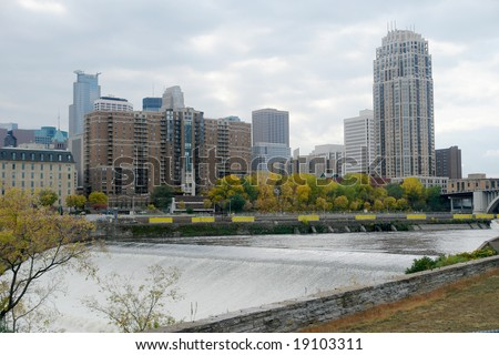 A picture of Minneapolis skyline from St. Anthony's fall