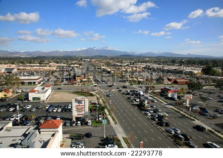 12-19-2008 a rare view of the Saddleback Mountains with snow on them in Orange County California as seen from the roof of a building in Lake Forest California
