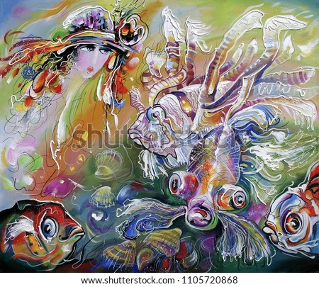 A sea fairy in the underwater kingdom. Decorative and textured techniques on canvas. Artistic work in bright and juicy colors. Author: Nikolay Sivenkov.
