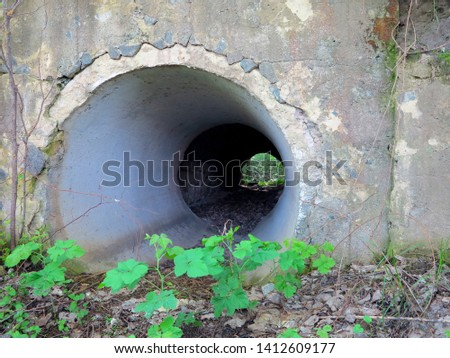a small tunnel under the grass road