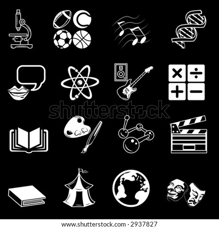 a subject category icon set eg. science, maths, language, literature, history, geography, musical, physical education etc. Raster version - stock photo