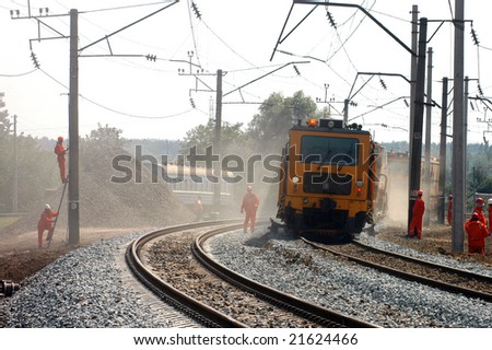 A team of railway workers doing their job