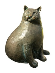 A thick bronze cat on a white isolated background.